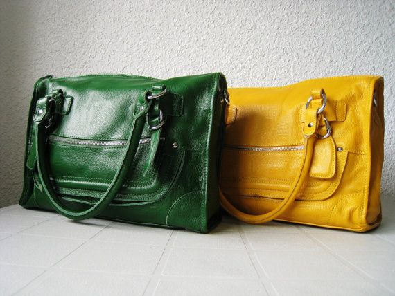 Leather satchel purse - green leather shoulder bag, large leather ...