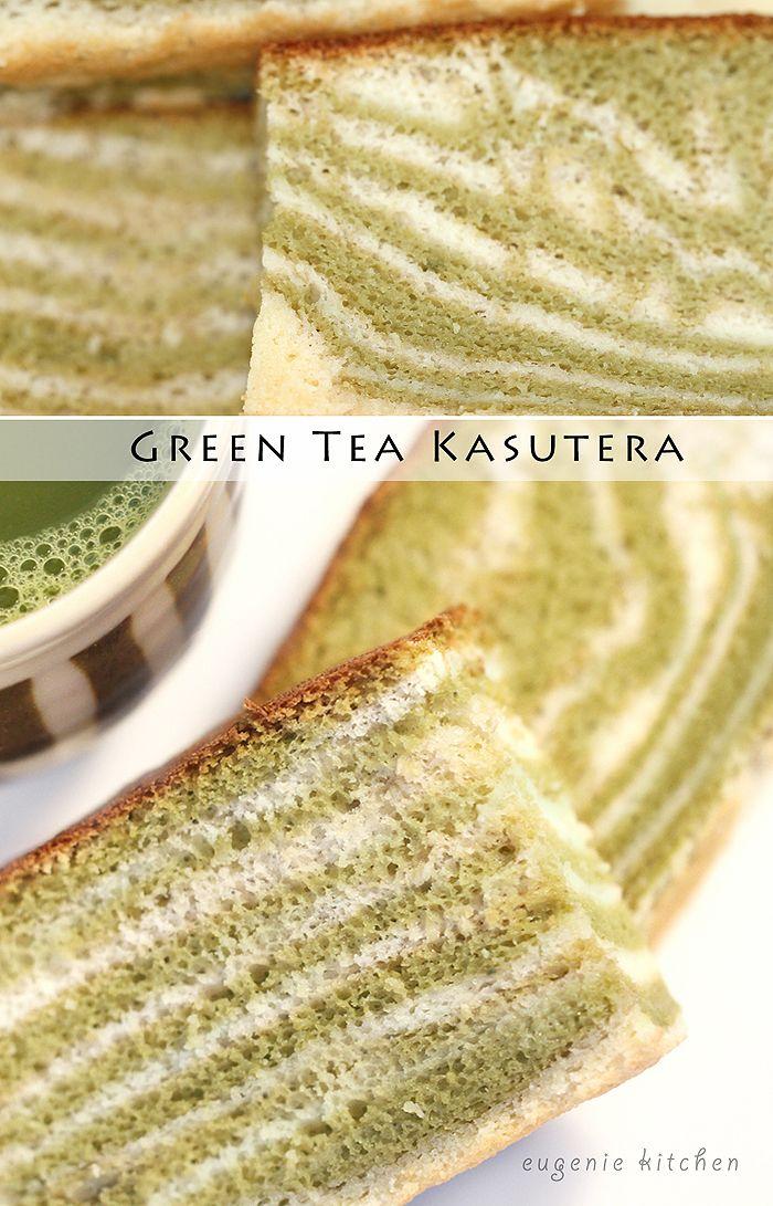Green Tea Castella Kasutera Marble Or Zebra Japanese Sponge Cake