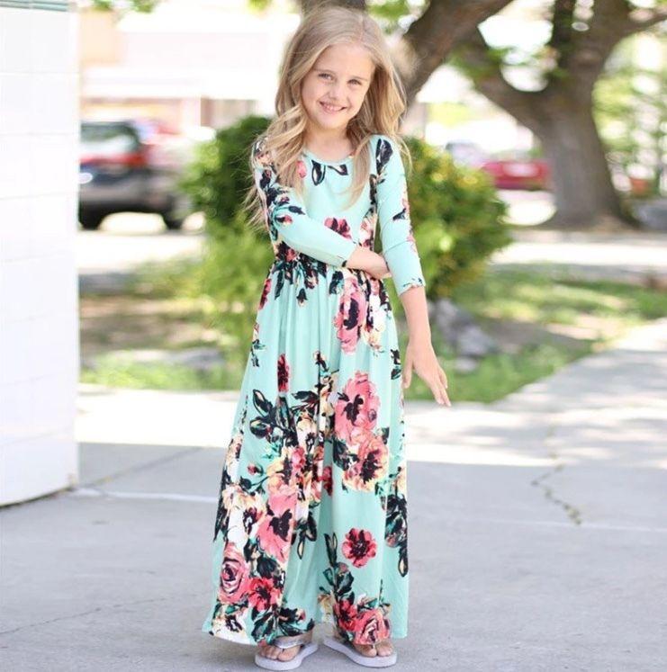 Kids Girls Summer Beach Short Sleevel Boho Long Maxi Dress,White