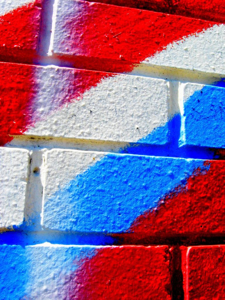 Red White And Blue Brick Wall Red And Black Background Red White Blue Red Colour Wallpaper