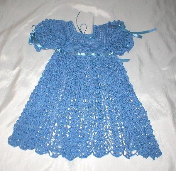 blue crocheted baby dress