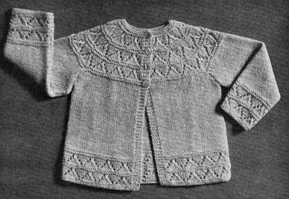 e5487c970b857 Long sleeved baby cardigan with lace yoke and borders