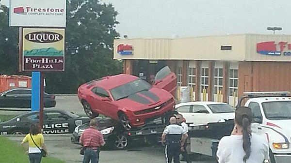 Sometimes we see a picture that has taken on a life of its own. One of those photos going viral locally now shows a Camaro that landed on top of a Subaru in Maryville.