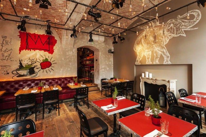 Interior Cool Coffee Shop Design Concept With Unique Graffiti Art Innovative Interiors And