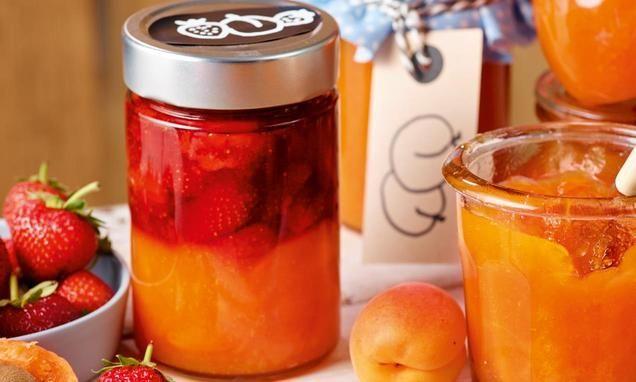 marillen erdbeer schichtmarmelade rezept zutaten f r das obst gem se und marmelade. Black Bedroom Furniture Sets. Home Design Ideas