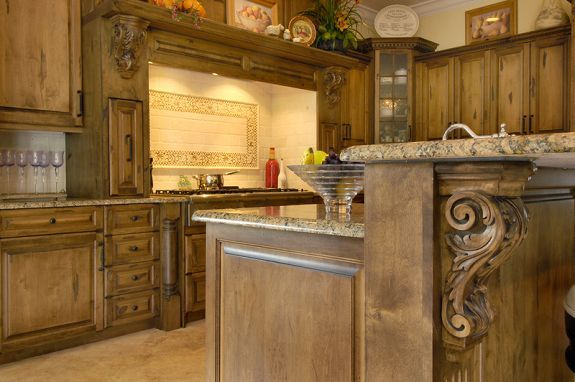 Little Too Dark Of Cabinet Shade But I Like The Detail On The Island Kitchen Cabinetry Kitchen Remodel Kitchen