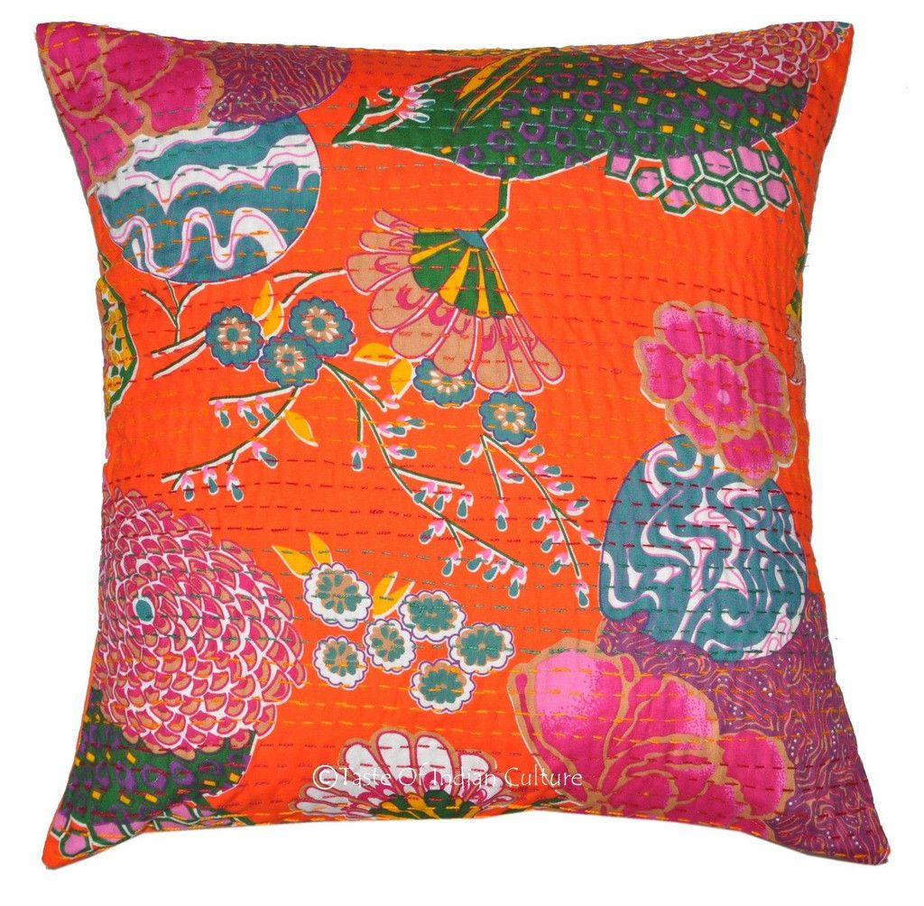 Orange Floral Kantha Cushion covers Extra large Indian decorative