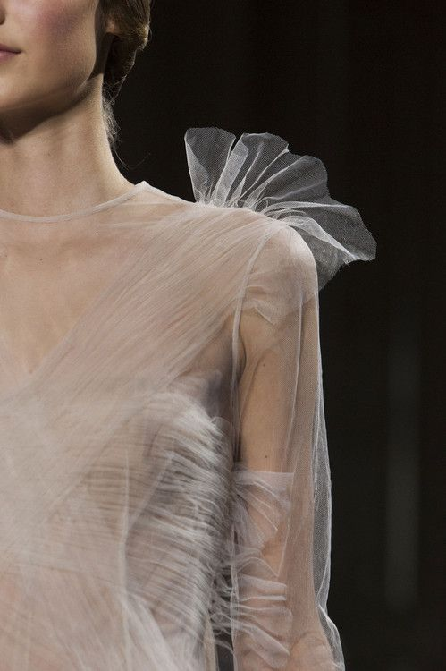 Transparency - delicate sheer dress with gathered textures & shoulder ruffle detail - haute couture close up; fashion details // Valentino