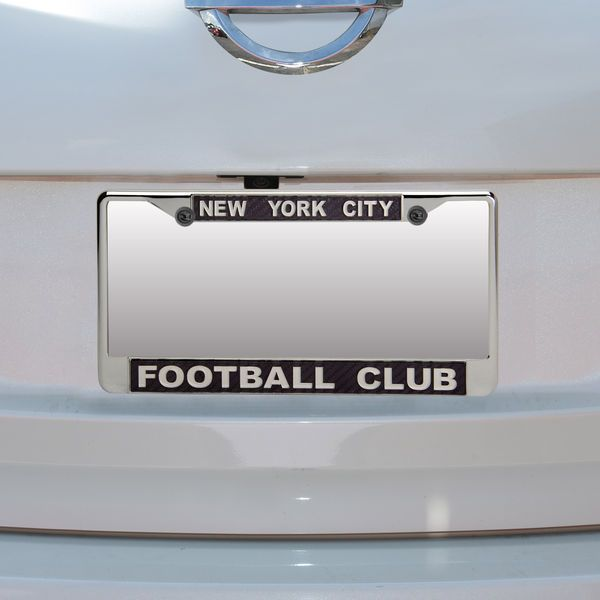 New York City FC Metal Chrome With Carbon Fiber License Plate Frame ...