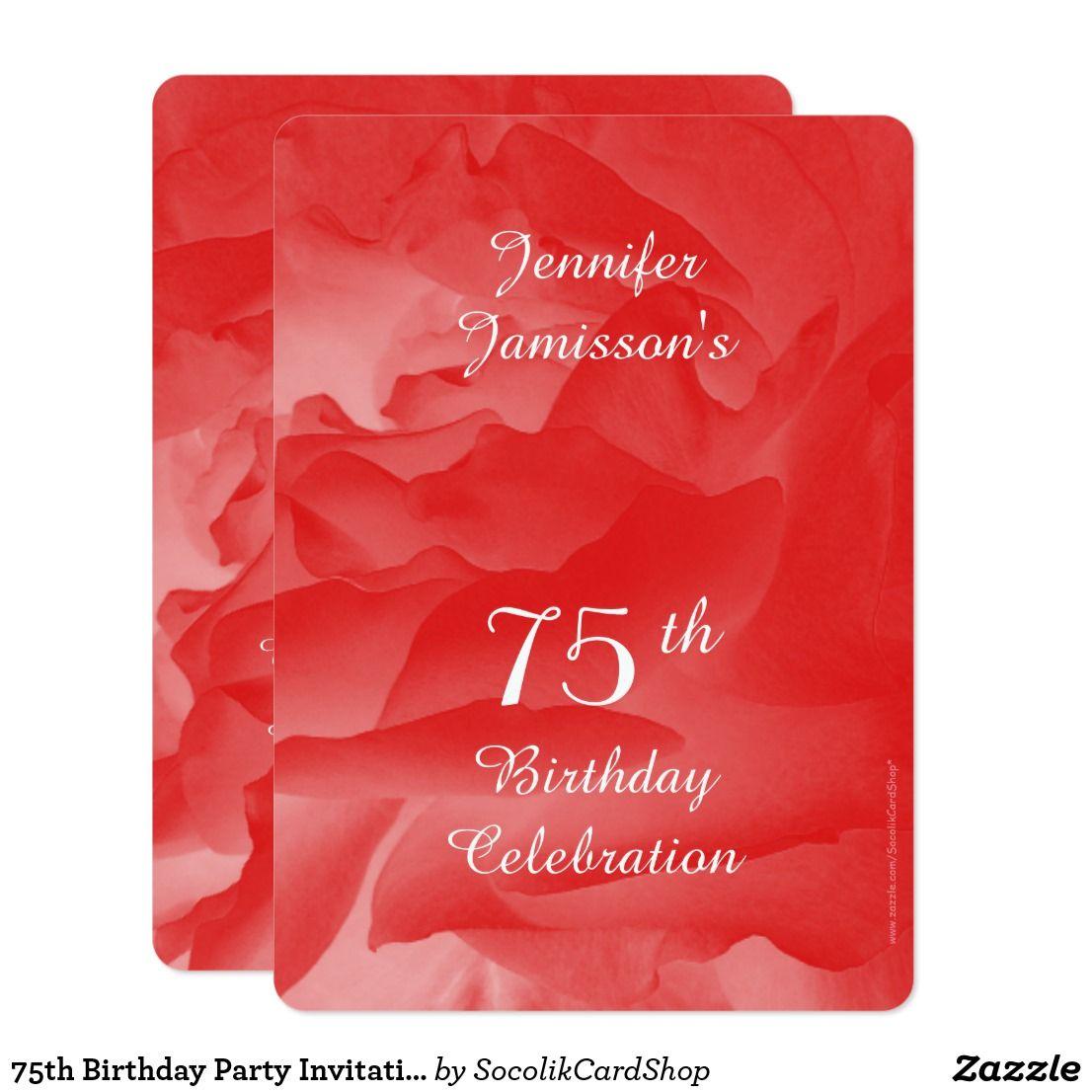 75th Birthday Party Invitation, Coral Pink Rose Invitation ...