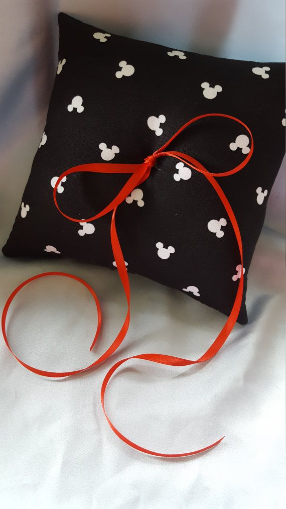 Black White Red Mickey Mouse Print Ring Bearer Pillow Wedding