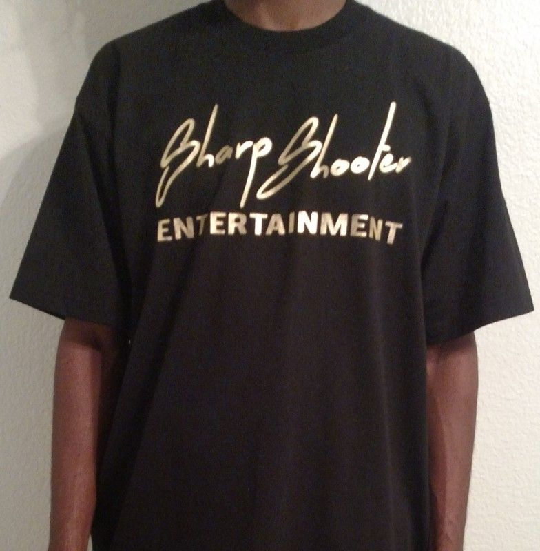 Sharp Shooter Entetainment Black & Gold T-Shirts +Sizes – Available in sizes 3XL 4XL 5XL 6XL