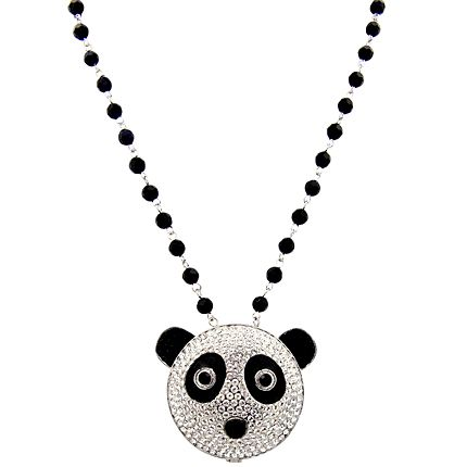 Cute is the only way to describe the Butler & Wilson Small Crystal Panda Head Mirror On Beaded Chain Necklace.  Featuring Swarovski crystal, the pendant opens up as a handy compact mirror.