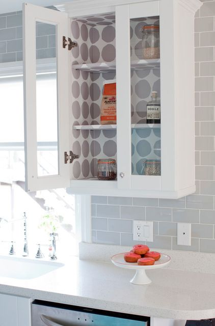 Paper The Interior Of A Glass Cupboard This Is The Perfect Place To Use Up Any Wallpaper Scraps You May Have Lying Eclectic Kitchen Home Decor Inside Cabinets