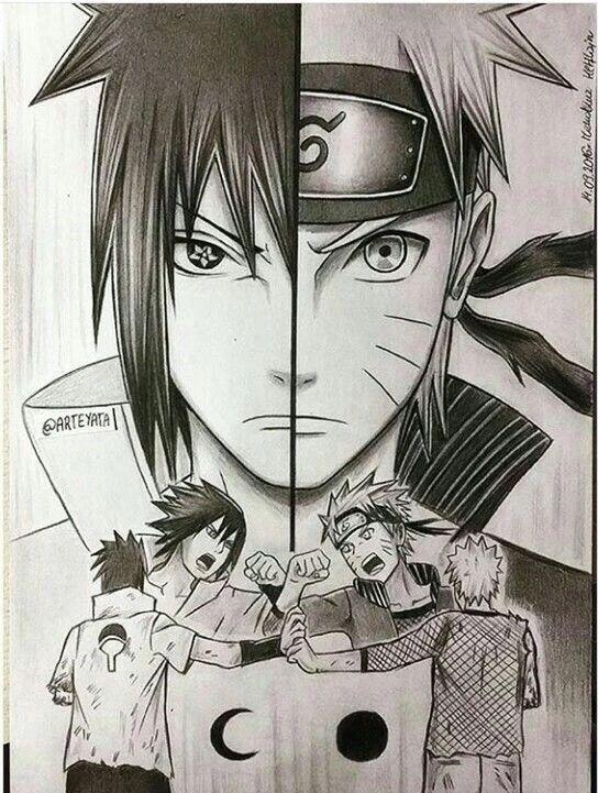 Uzumaki Naruto Uchiha Sasuke Side By Side Sun And Moon Fighting Reunited Cool Naruto Naruto Sketch Naruto Drawings Naruto Tattoo