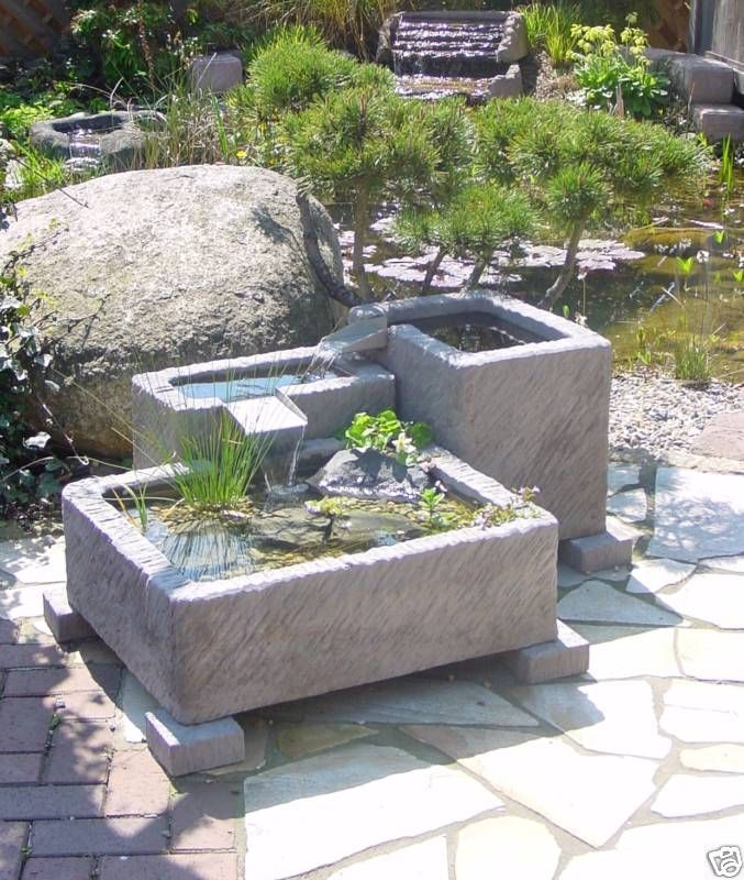 Gartenbrunnen Brunnen Springbrunnen Wasserspiel Werksandstein Stein ...