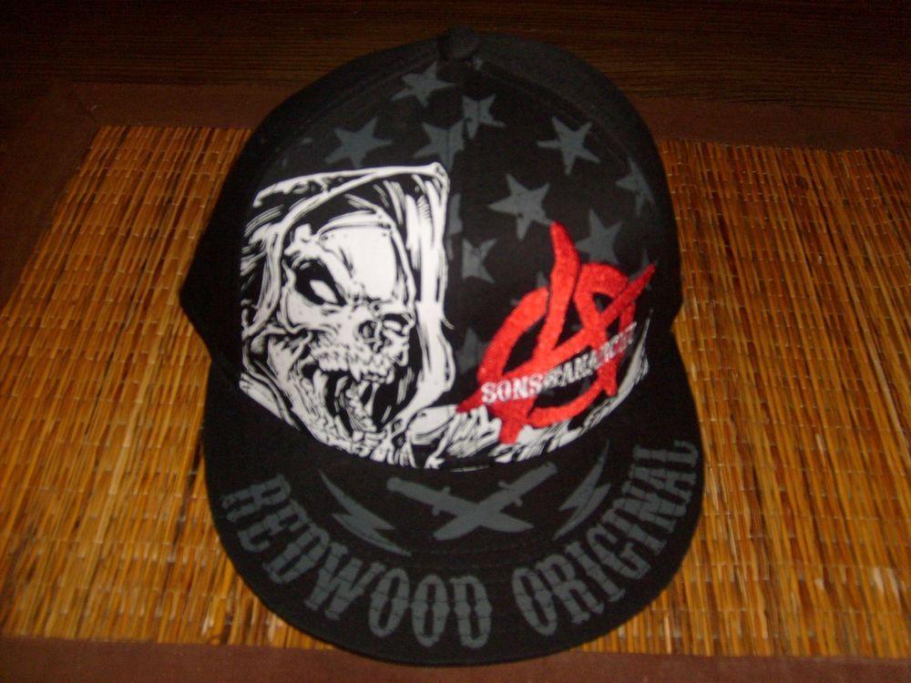 59161920ee7 SONS OF ANARCHY ORIGINAL REDWOOD SNAPBACK EMBROIDERED HAT BLACK FLAT BILL  CAP  SPENCERS  BaseballCap