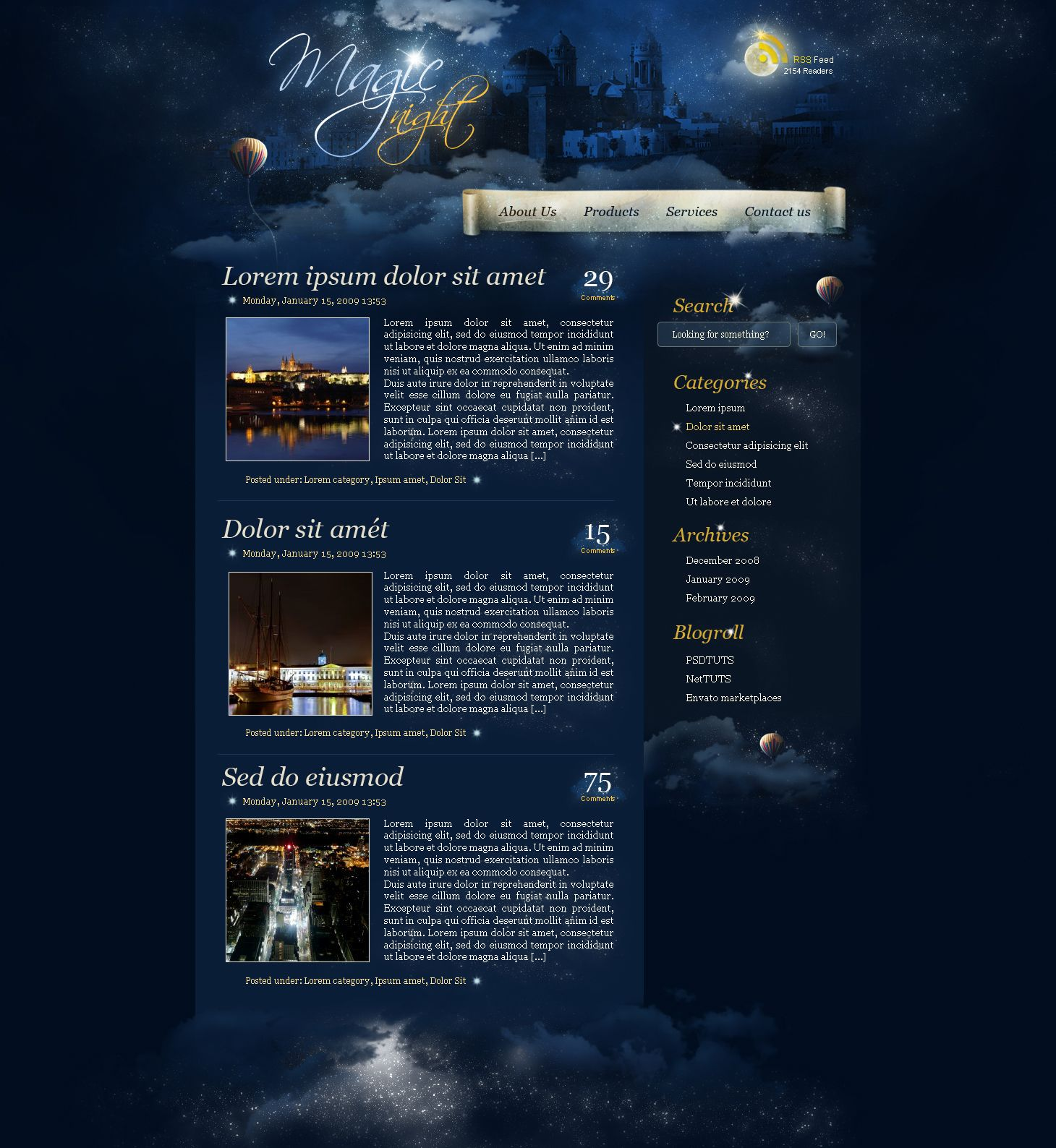 Create a magic night themed web design from scratch in photoshop 108 best photoshop web designs layout tutorials photoshop website tutorialsbrushes more baditri Gallery