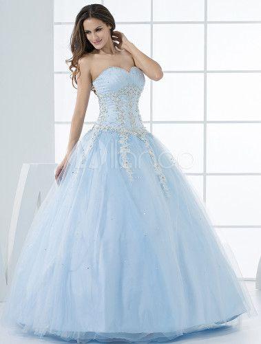 5e2ec73cf72 Grace Light Sky Blue Ball Gown Sweetheart Neck Quinceanera Dress -  Milanoo.com
