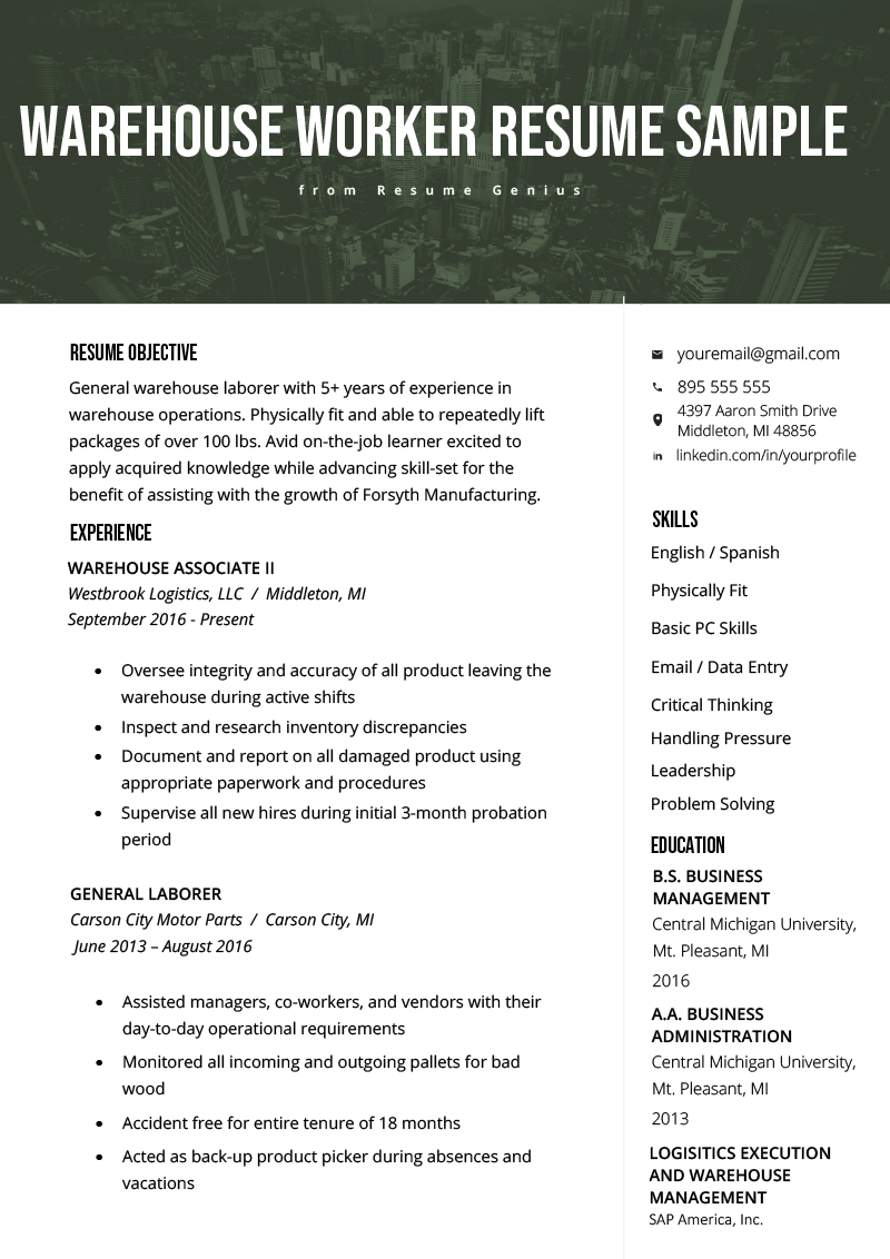 Warehouse Worker Resume Example Template RG Job resume