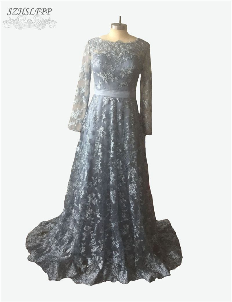 Click to buy ucuc vestido de noche blue aline lace prom dress