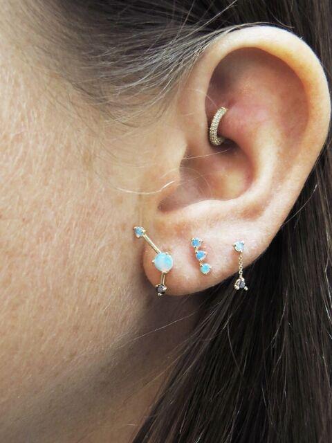 Wwake Three Step Point 14-karat Gold Opal Earring Ts15v