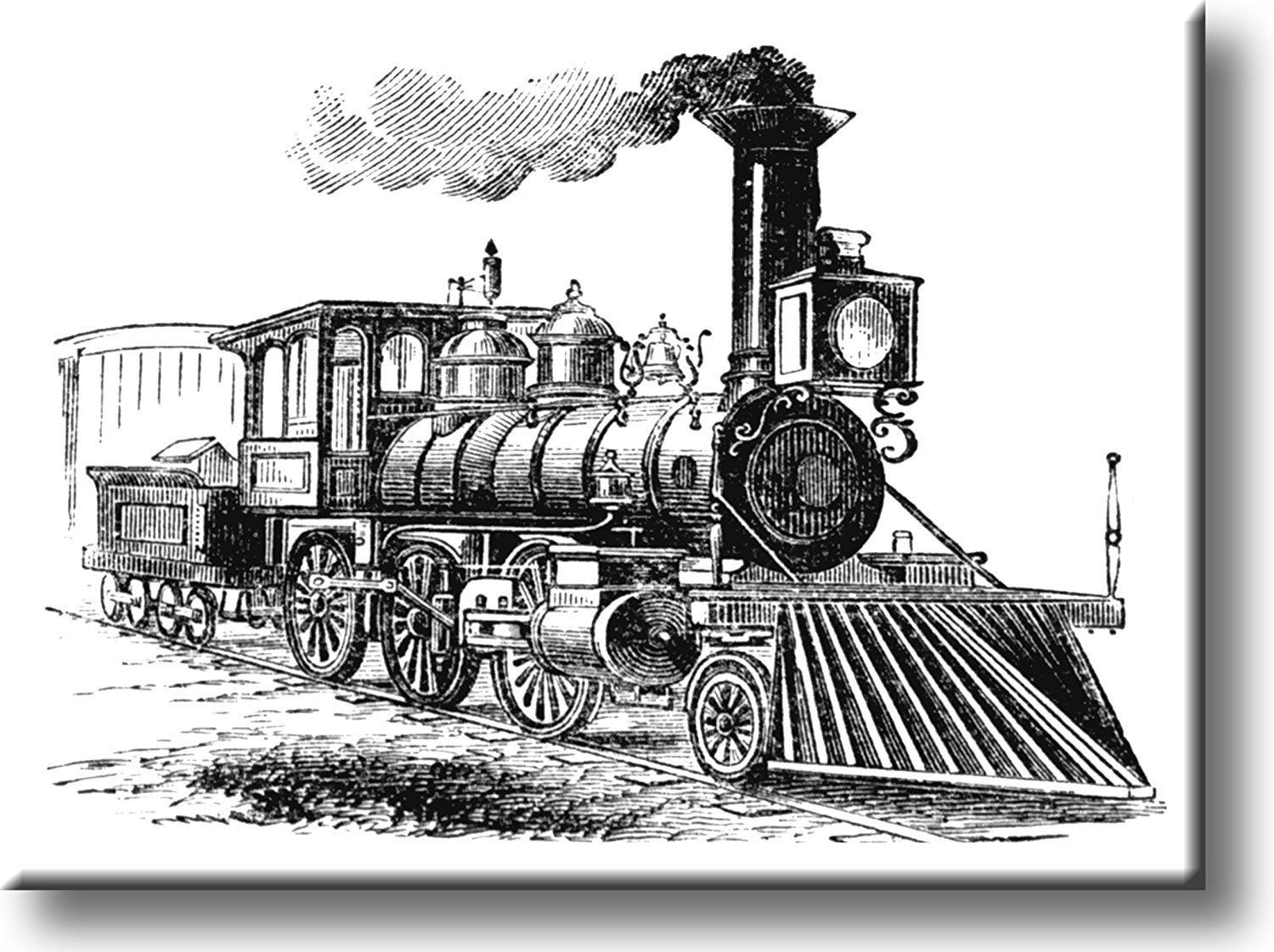 Vintage Black And White Steam Engine Picture On Acrylic Wall Art Decor Ready To Hang Train Drawing Train Locomotive