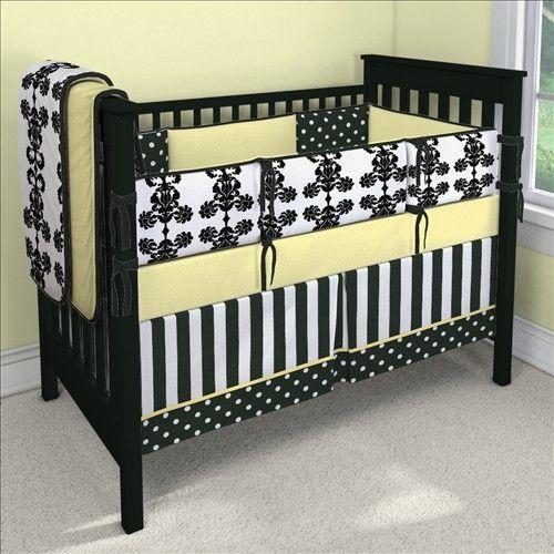 Black White And Yellow Baby S Room Crib Baby Bedding Custom Baby Bedding Custom Nursery Bedding Baby Bed