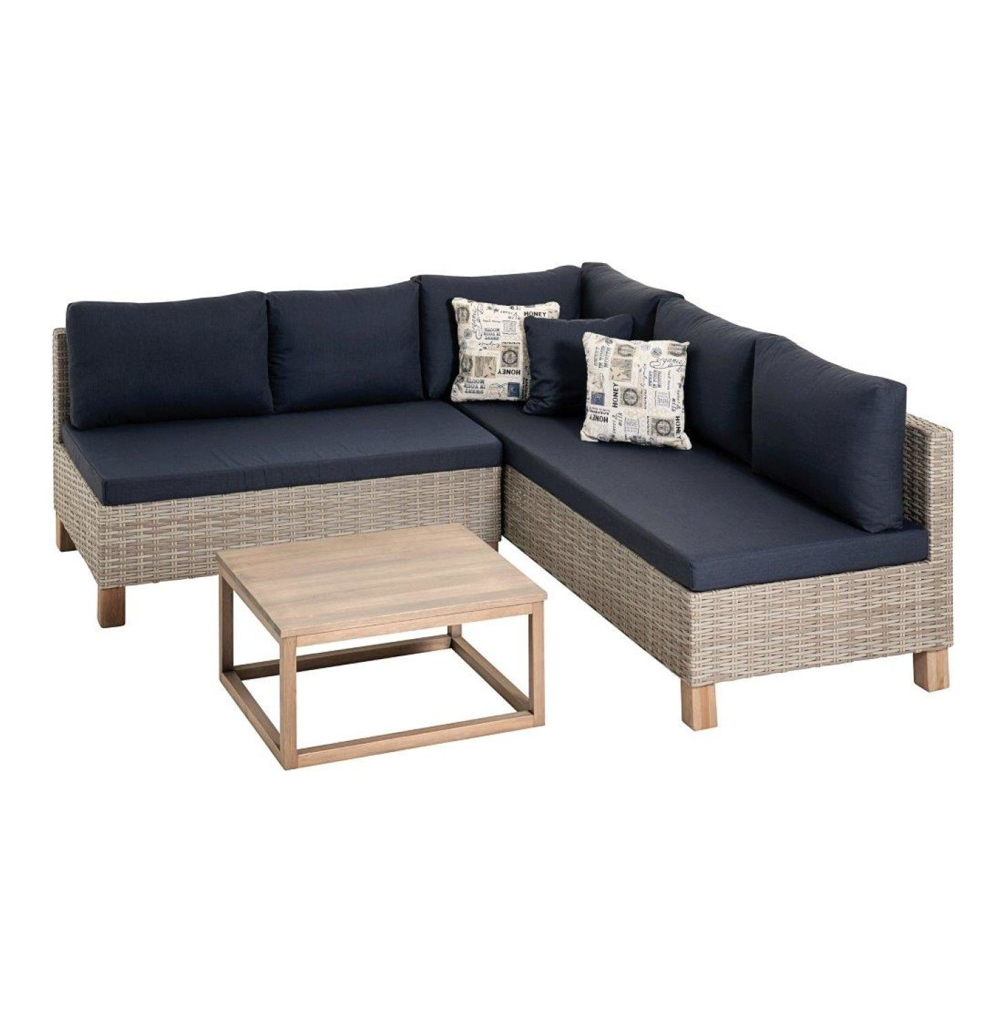 1990 Mm X 2020 Mm Nambiti Wicker Lounge Set Greige/navy