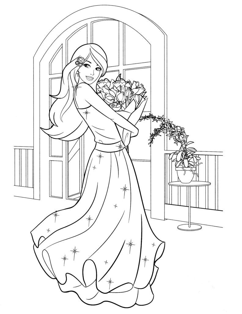 Coloring Pages Alluring Barbie Coloring Pages: Barbie Coloring Pages ...