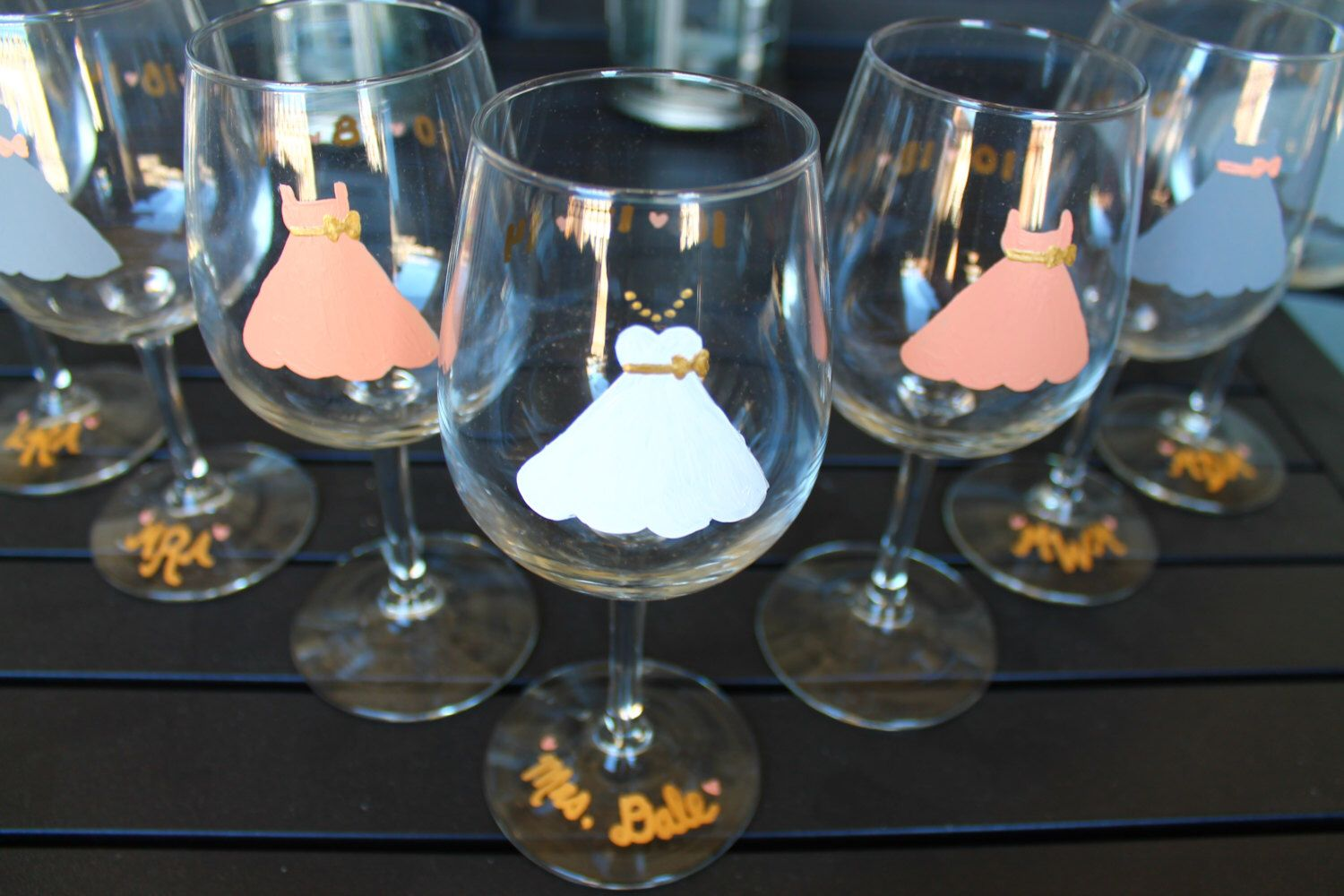 Hand-Painted Bridal Glasses by BetasBasics on Etsy https://www.etsy.com/listing/208647751/hand-painted-bridal-glasses