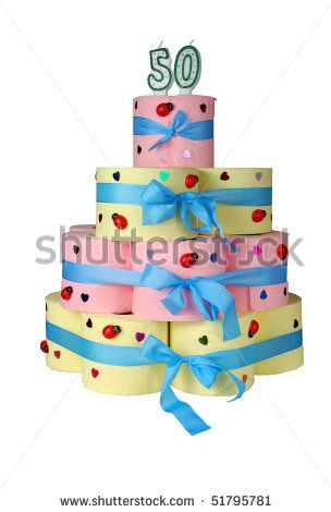 50th Birthday Cake Made From Toilet Paper Stock Photo 51795781 : Shutterstock