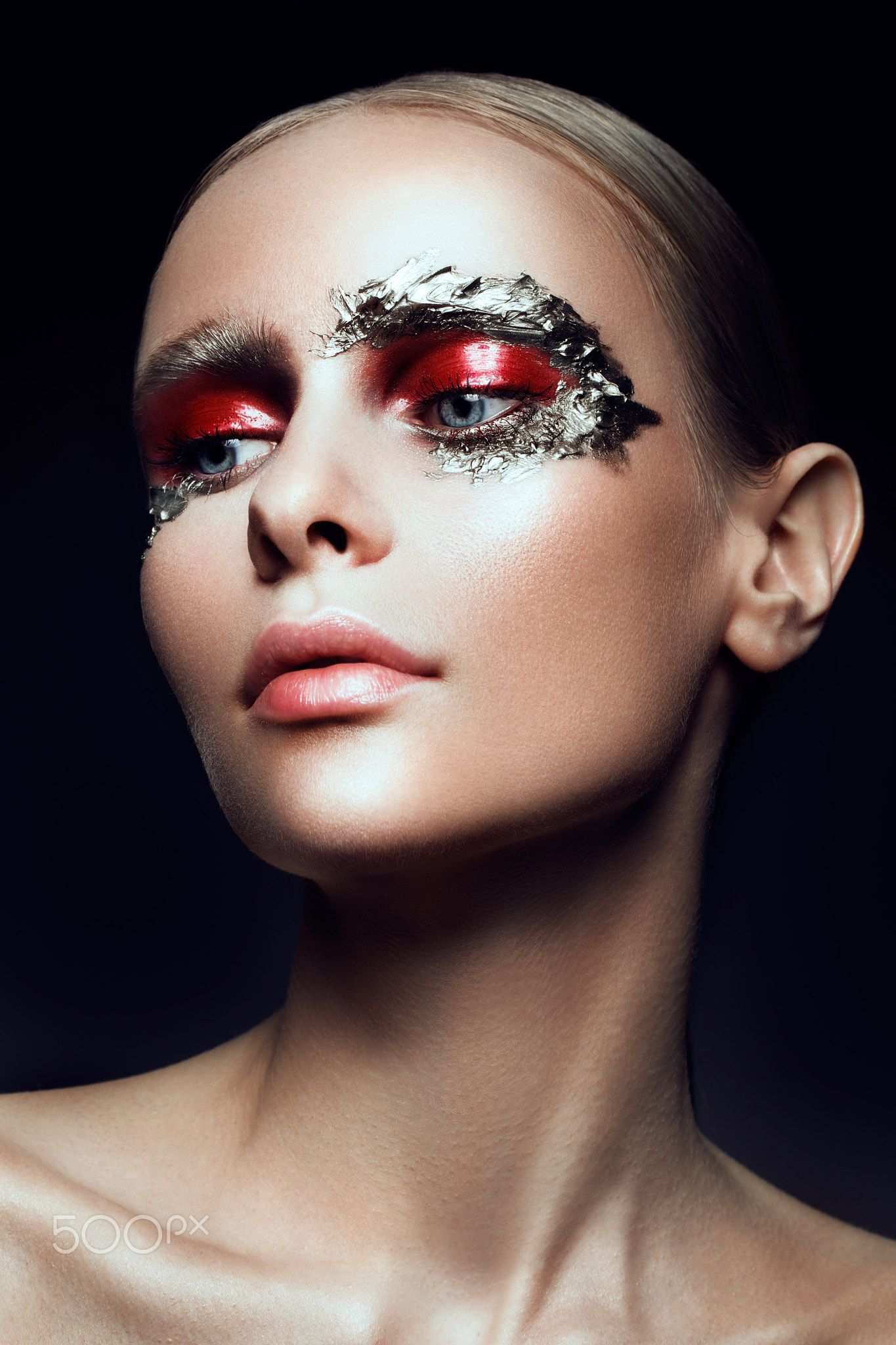 Fashion Art Make Up Woman Face Fashion Art Make Up Woman Face With Silver Paint Woman Face Fashion Art Face