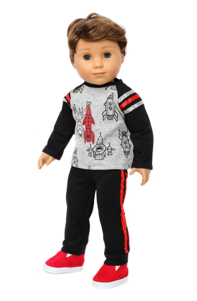 Rocket Ship Shirt, Black Pants & Red Shoes for American ...