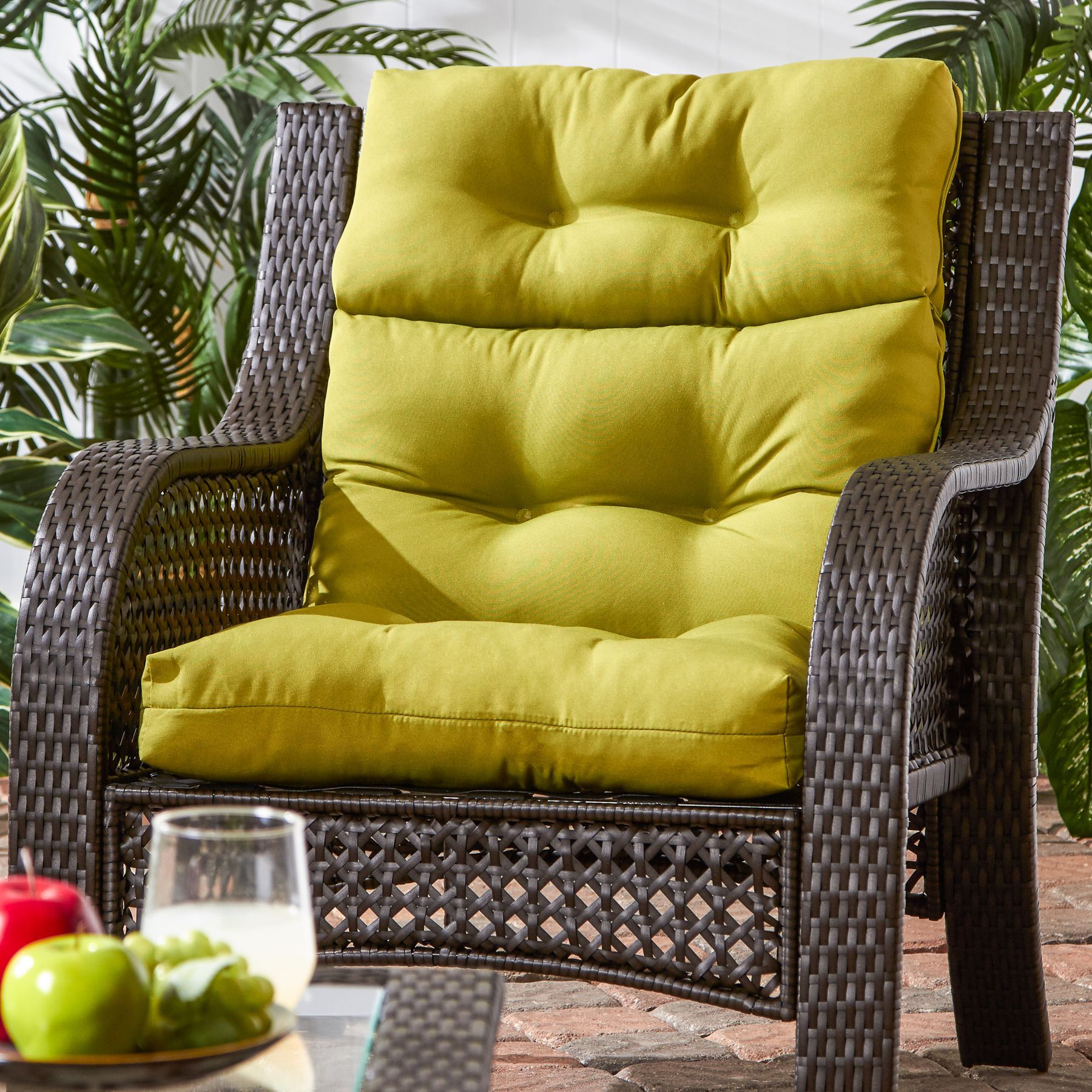 44x22 inch 3 section outdoor kiwi high back chair cushion lime