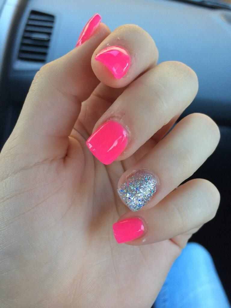 Hot Pink With Silver Glitter Ring Finger Silverglitter Pink Acrylic Nails Short Acrylic Nails Little Girl Nails