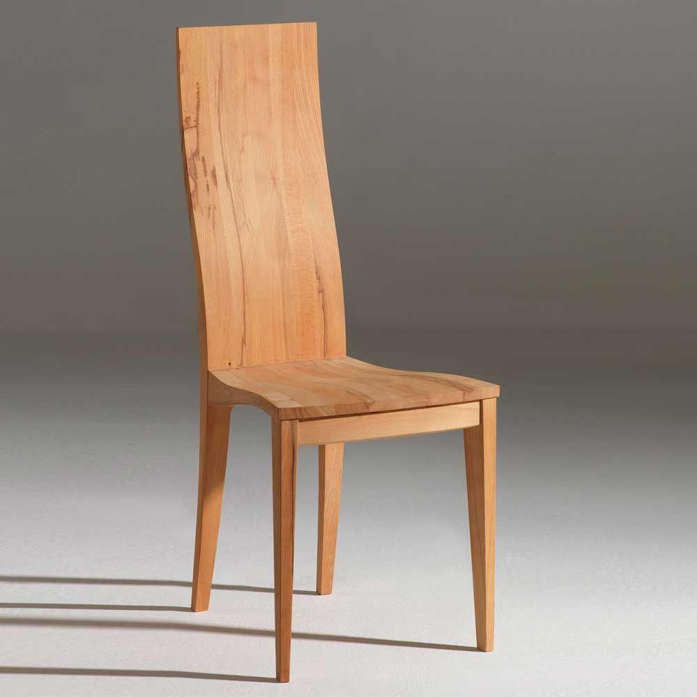 Holzstuhl aus Kernbuche Massivholz mit hoher Lehne (2er Set) Jetzt ...