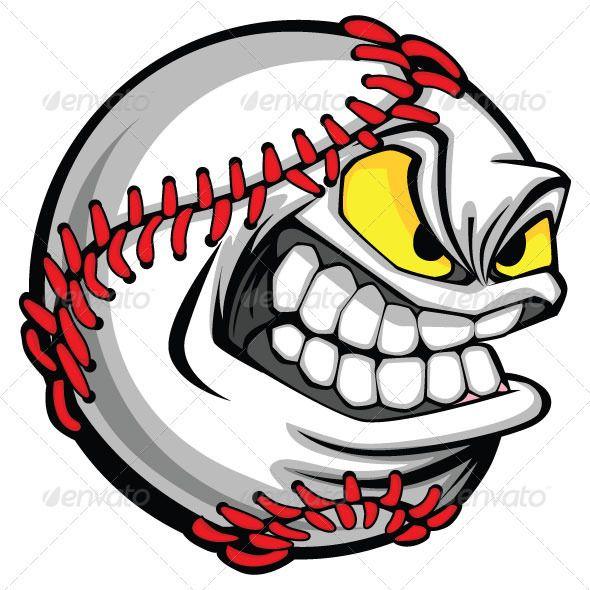 Baseball Face Cartoon Ball Vector Image Fastpitch Softball Fastpitch Softball Pitcher Softball
