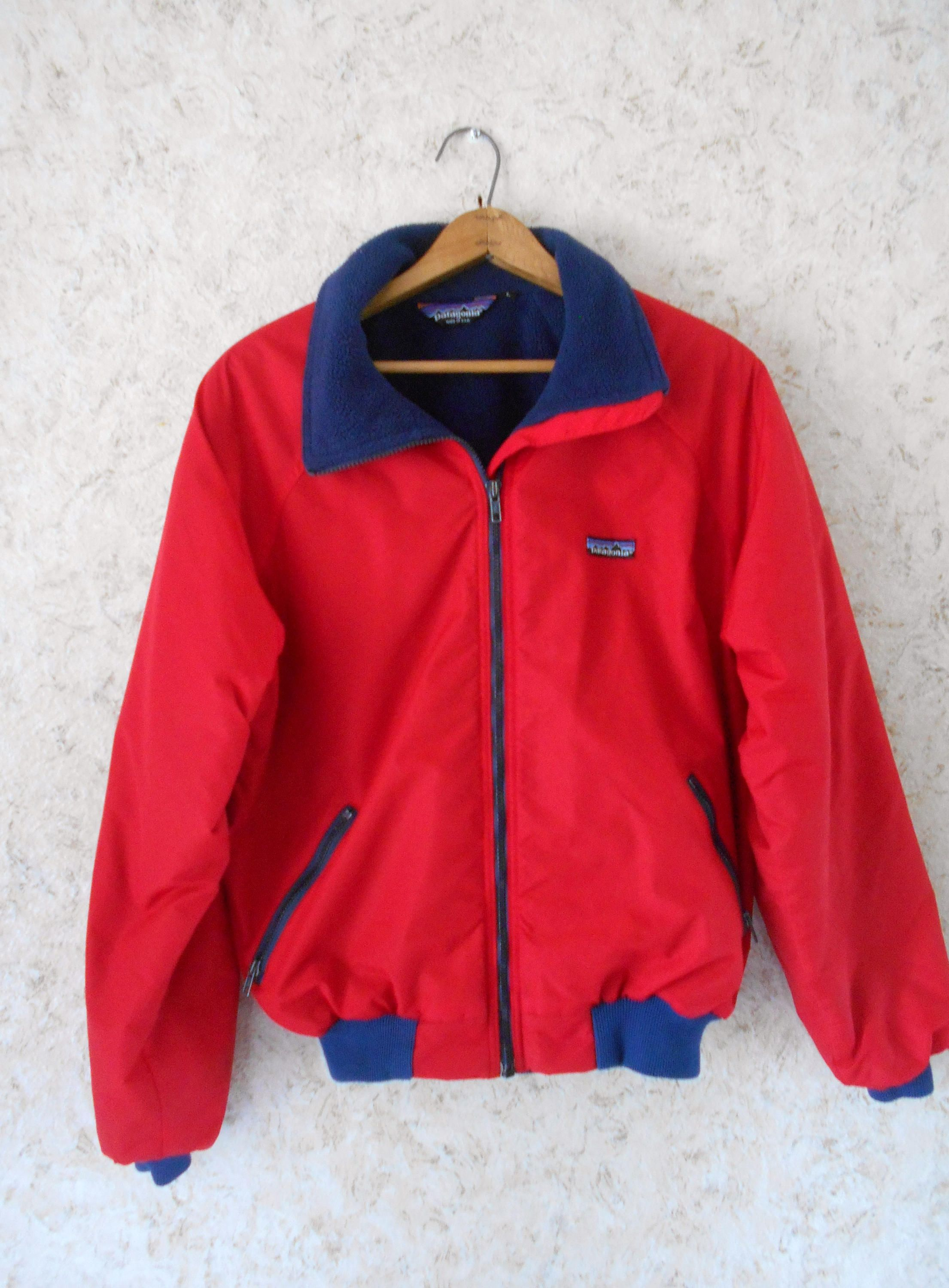 Vintage 1990s Patagonia Red Winter Jacket Coat Navy Fleece Lining Zippered  Front Retro Snow Ski Quality Made in USA Mens Size Large by CoolDogVintage  on ... 1f911c310a4a