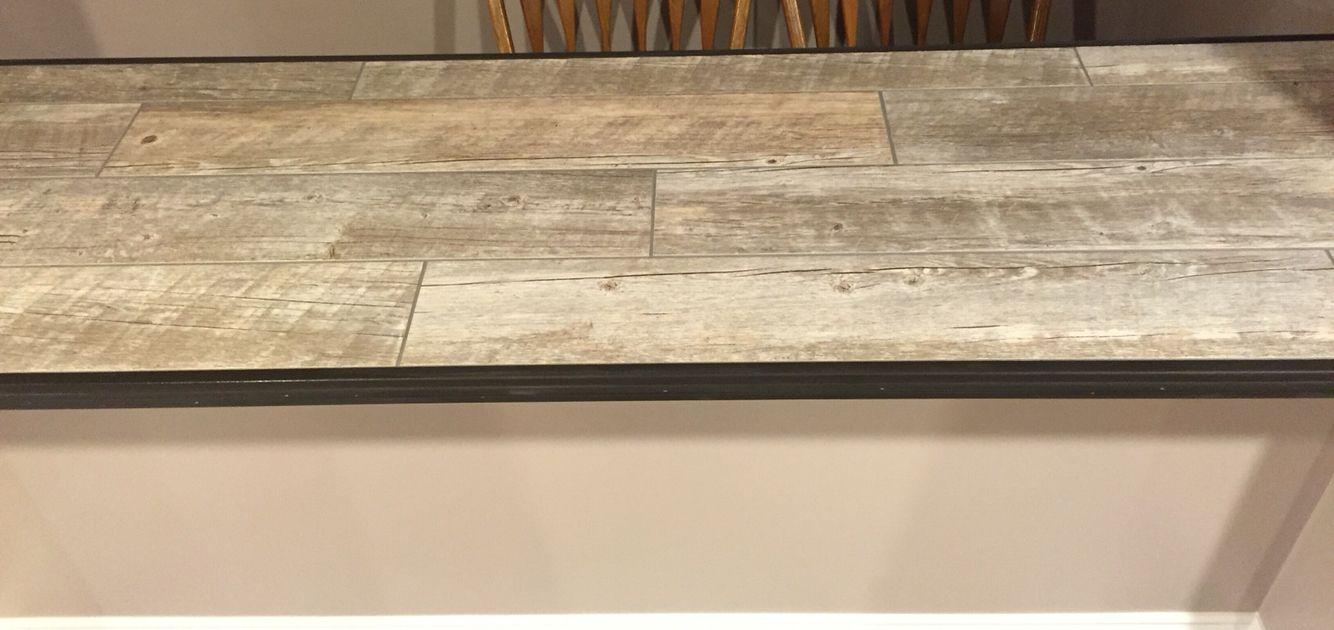 Ceramic Faux Wood Tile For Bar Top Tile Countertops Kitchen Wood Countertops Outdoor Kitchen