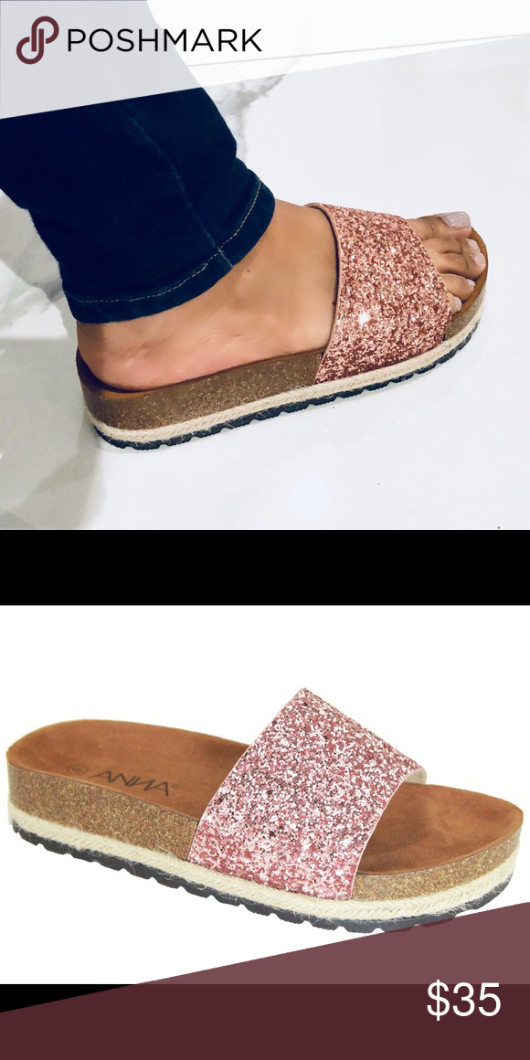 dd20c16620f Rose Gold Espadrilles platform glitter slides Cute platform Rose Gold  glitter Slide and espadrilles combo slides! Cute and trendy!