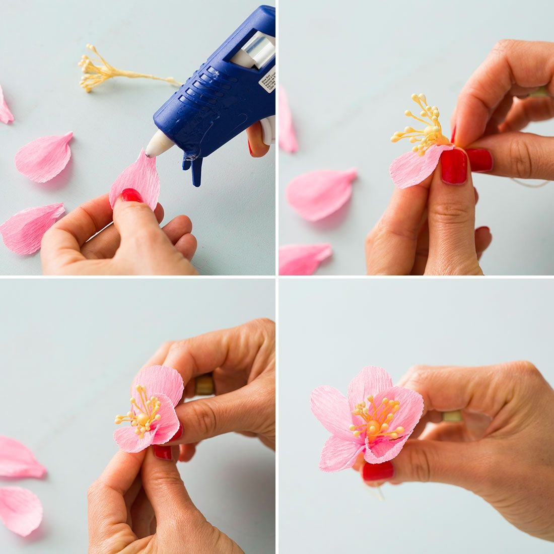 How To Make A Cherry Blossom Flower Crown Flower Crafts Paper Flowers Cherry Blossom Flowers