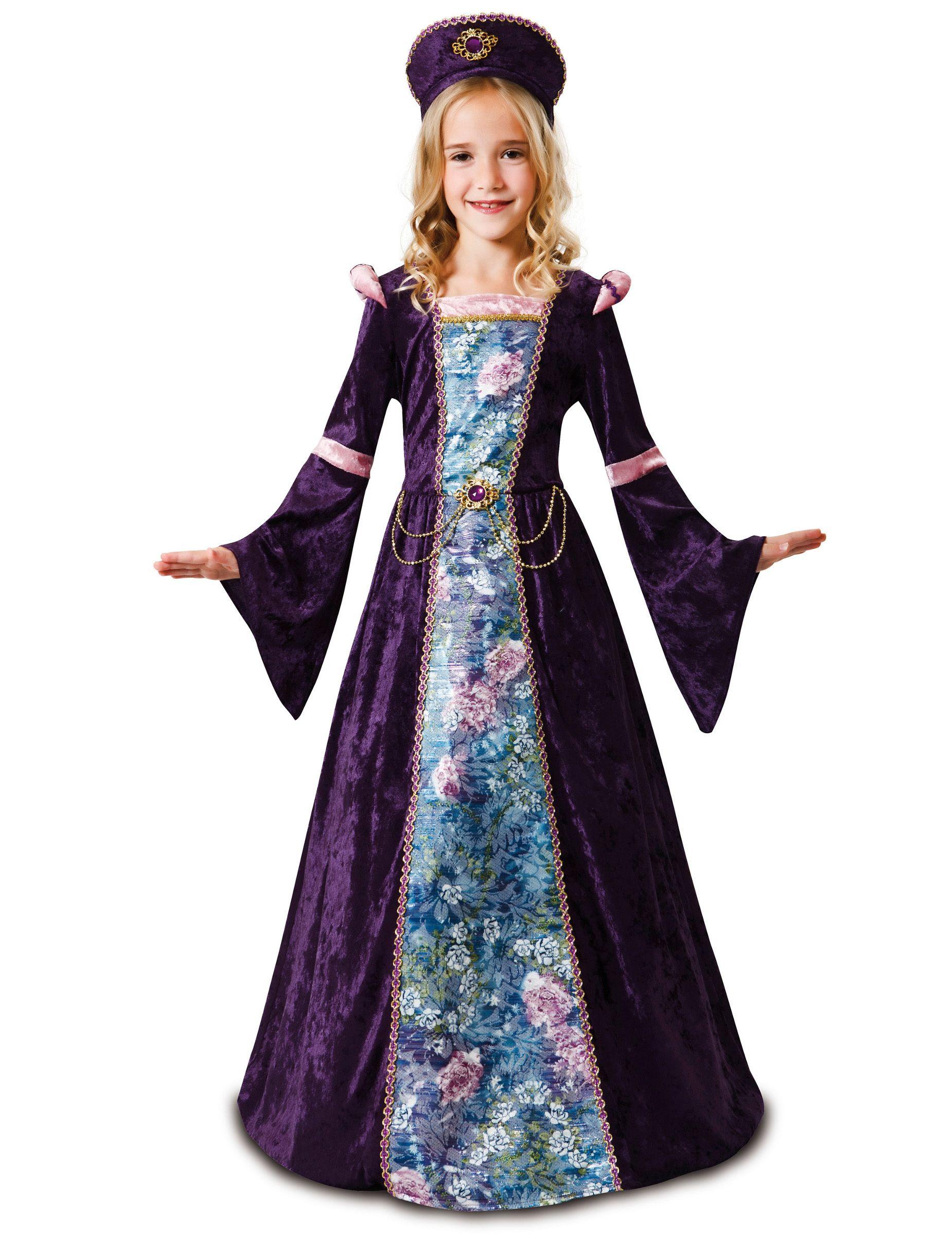 abbigliamento sportivo ad alte prestazioni originale carino e colorato Costume da dama medievale per bambina | Abiti rinascimentali ...