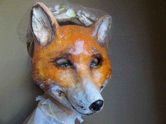 Halloween Masks Paper Mache Fox Mask Fox Costume Fancy Dress