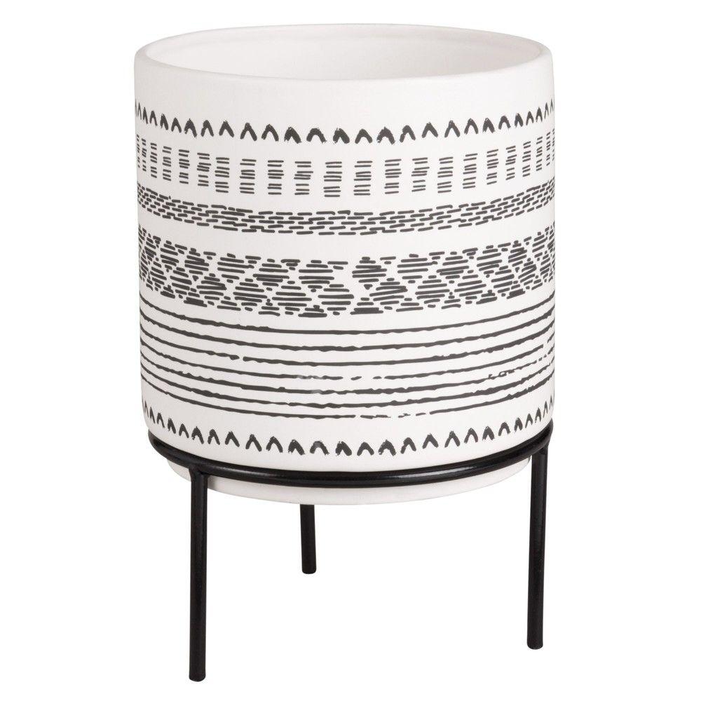 cache pot en c ramique pieds en m tal h22 maisons du. Black Bedroom Furniture Sets. Home Design Ideas
