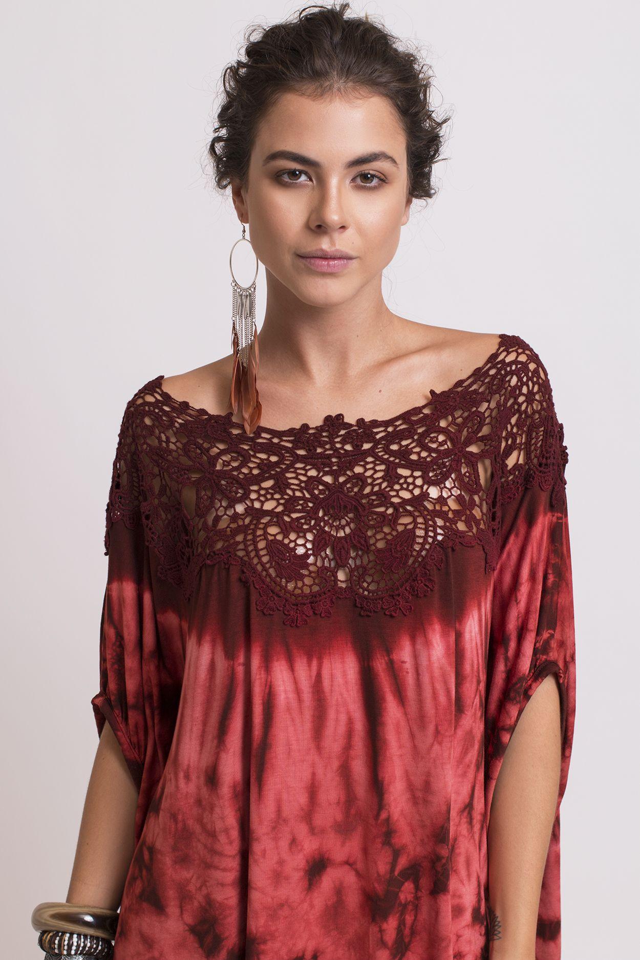 blusa tie-dye renda guipir boho moda feminina kamui