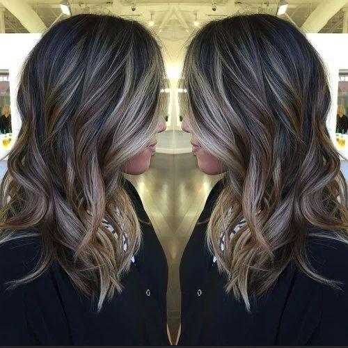 Long Black Hair With Brown And Blonde Balayage Balayage Hair