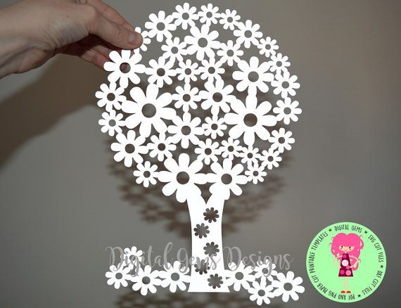 Flowering Tree Paper Cut Svg Dxf Eps Files And Pdf Png