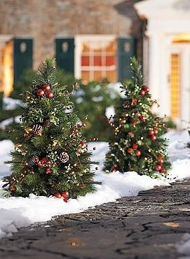 Line Your Drive Or Walk With The Beautiful Set Of Two Mackinley Cordless Pathway Trees That Feature Abundant Lifelike Greenery Embell Outdoor Christmas Decorations Outdoor Christmas Christmas Decorations
