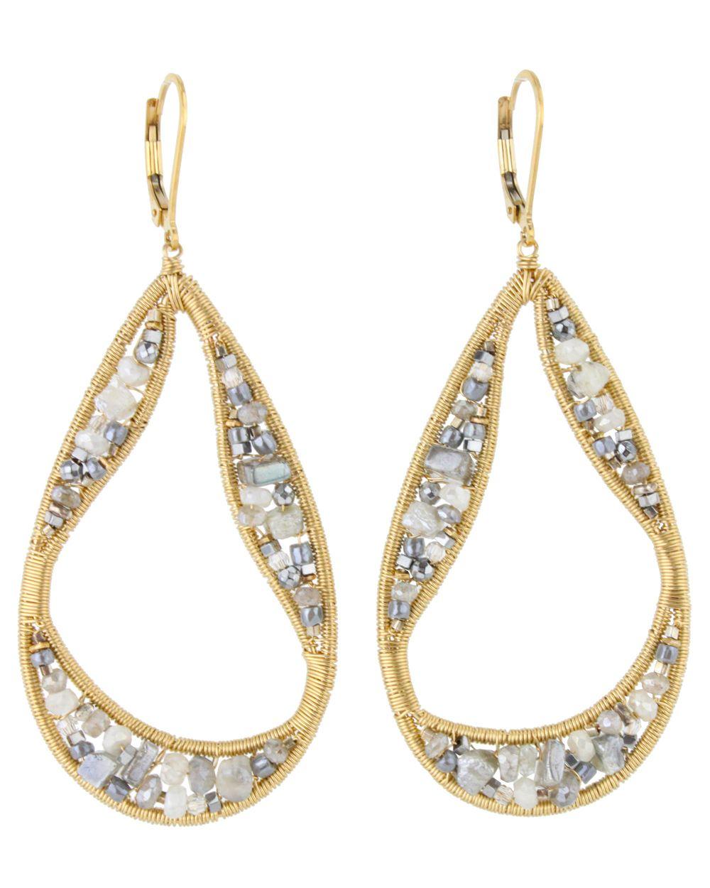 Dana Kellin Labradorite and Silverite Open Teardrop Earrings